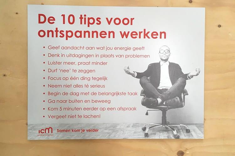 Klanten voor je winnen Canvas met 10 tips voor ontspannen werken ICM