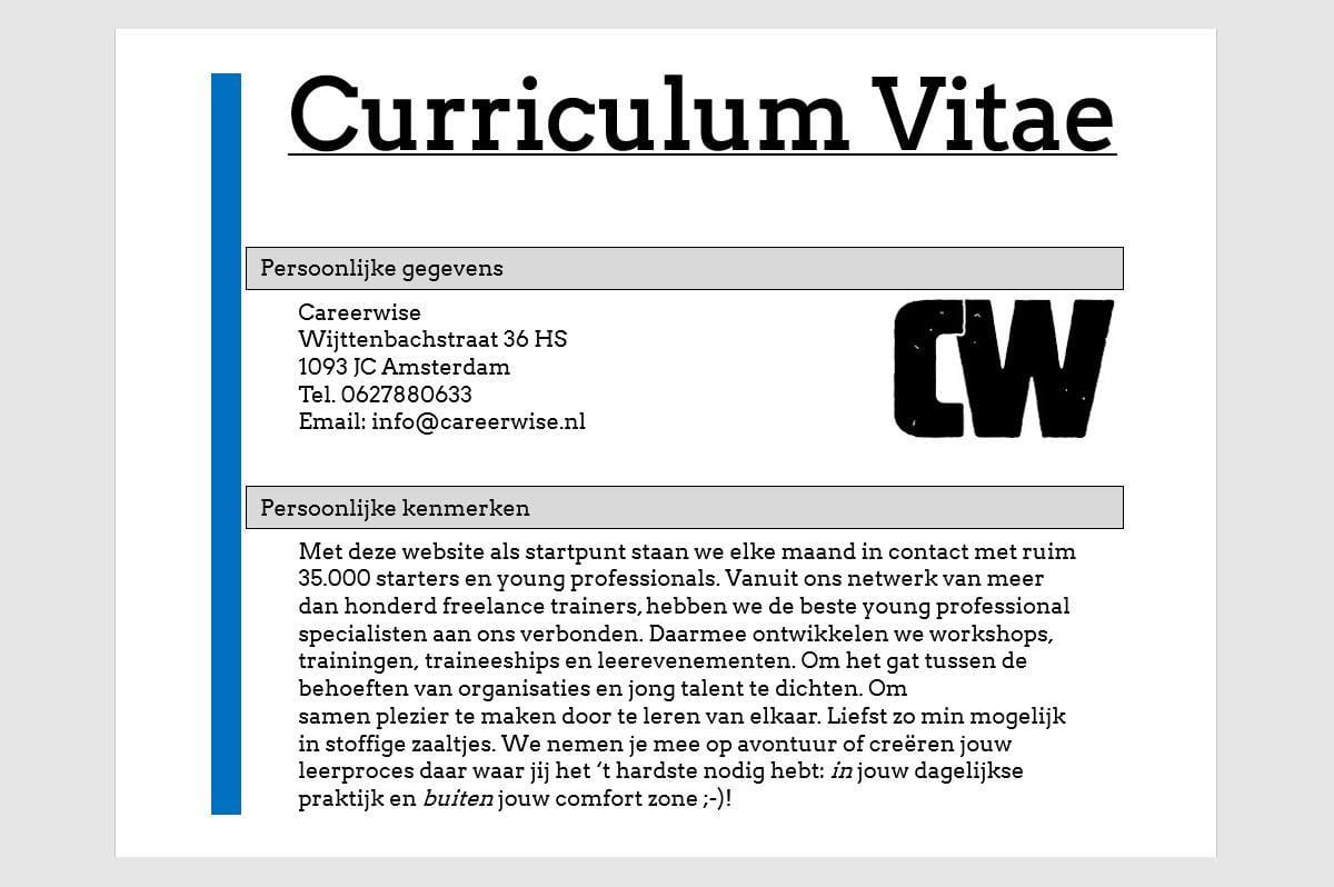 Gratis CV check van Careerwise voor Young Professionals en millennials